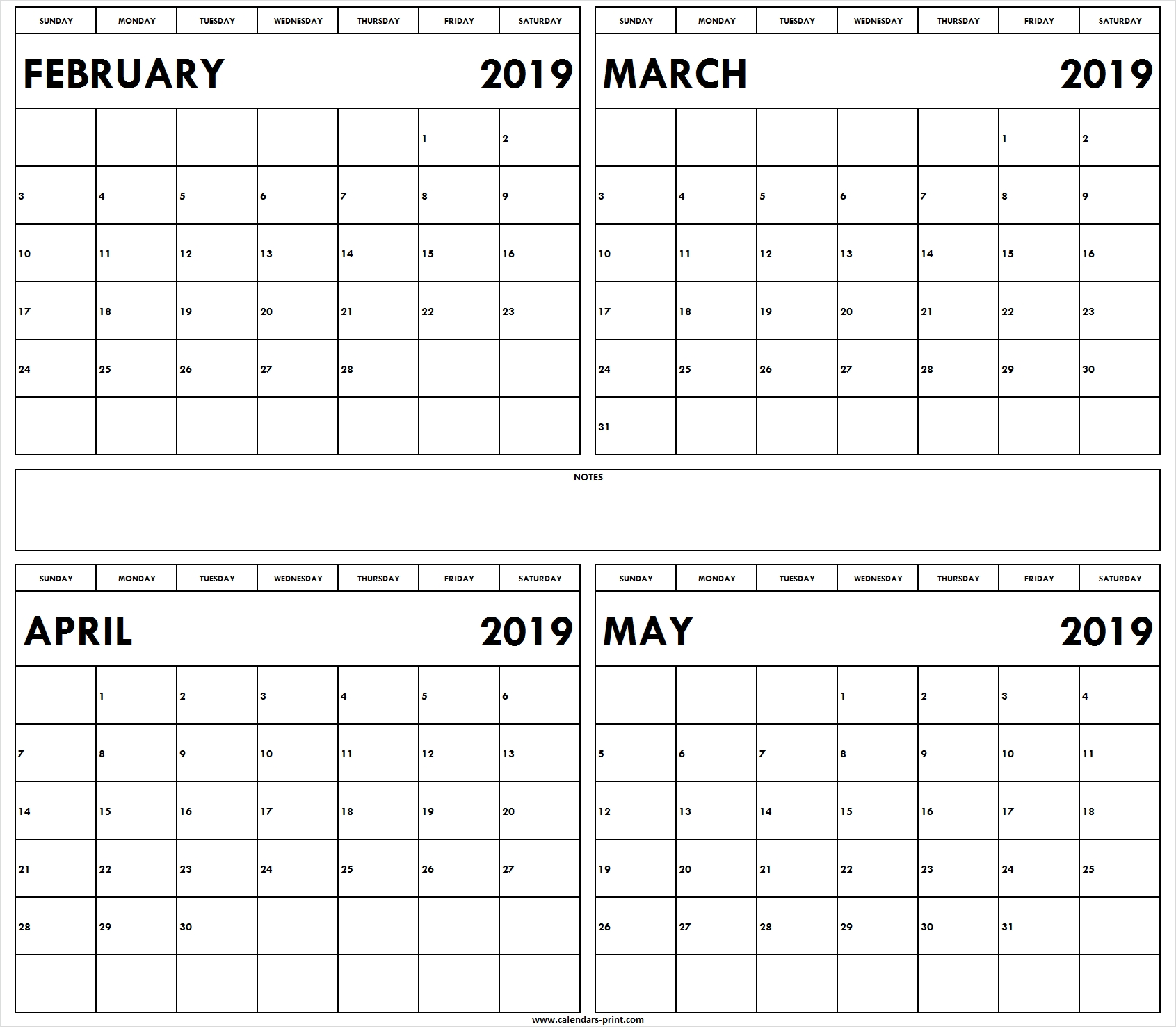 February To May 2019 Month Calendar