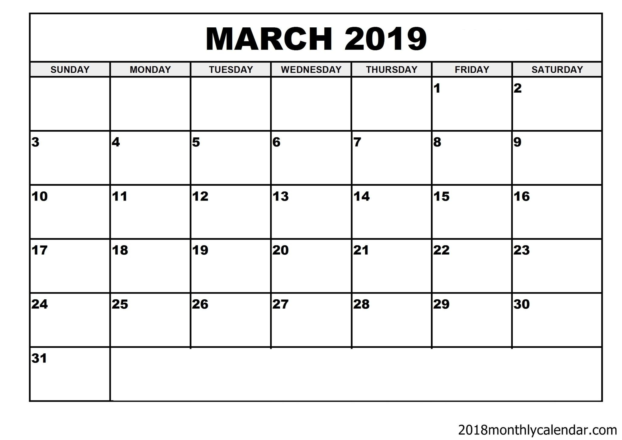 Free March 2019 Printable Calendar Templates Us Edition