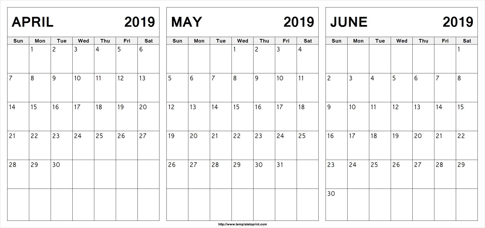 Printable April July 2019 Calendar Template