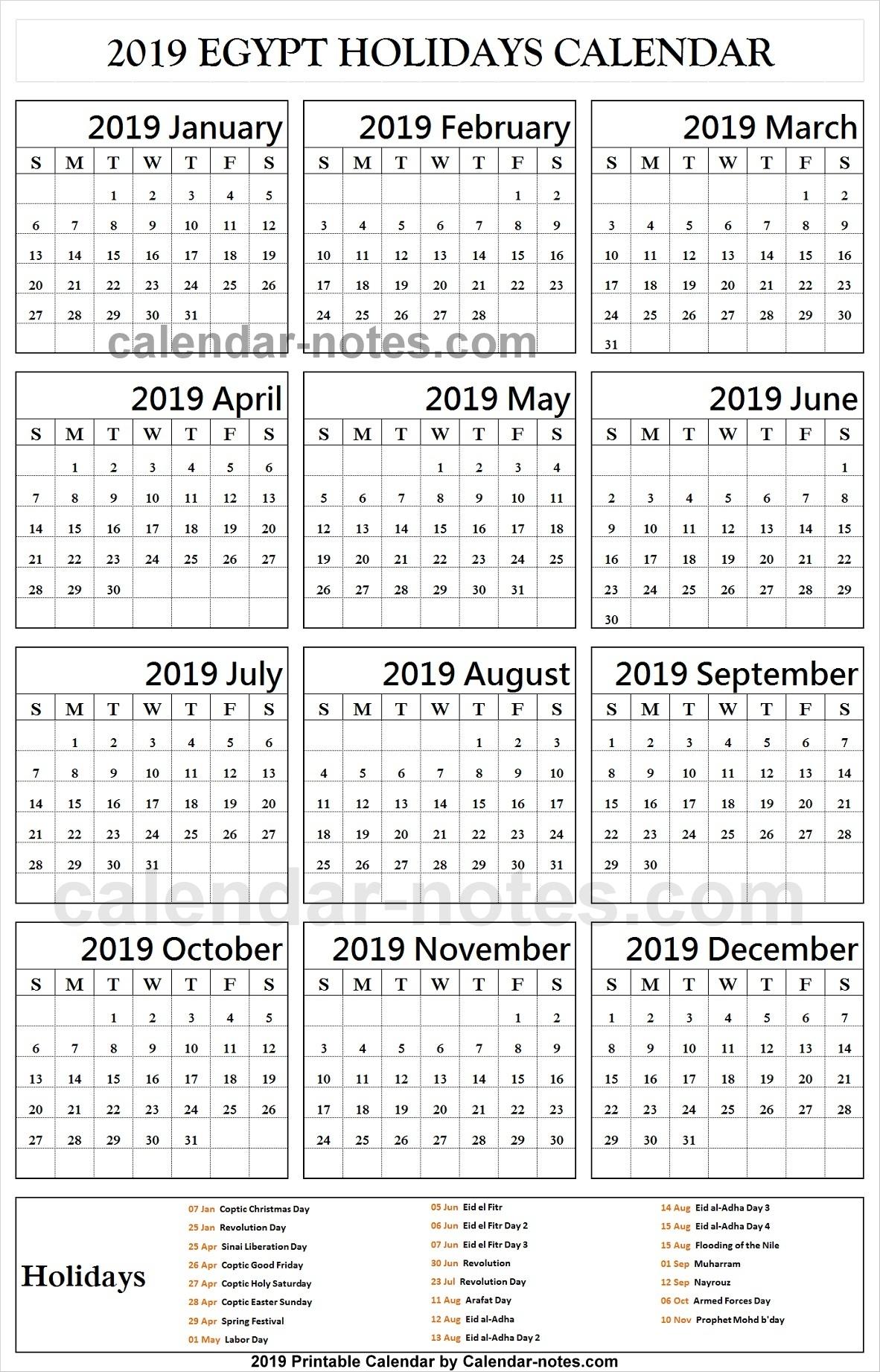 Egypt 2019 Calendar With Holidays