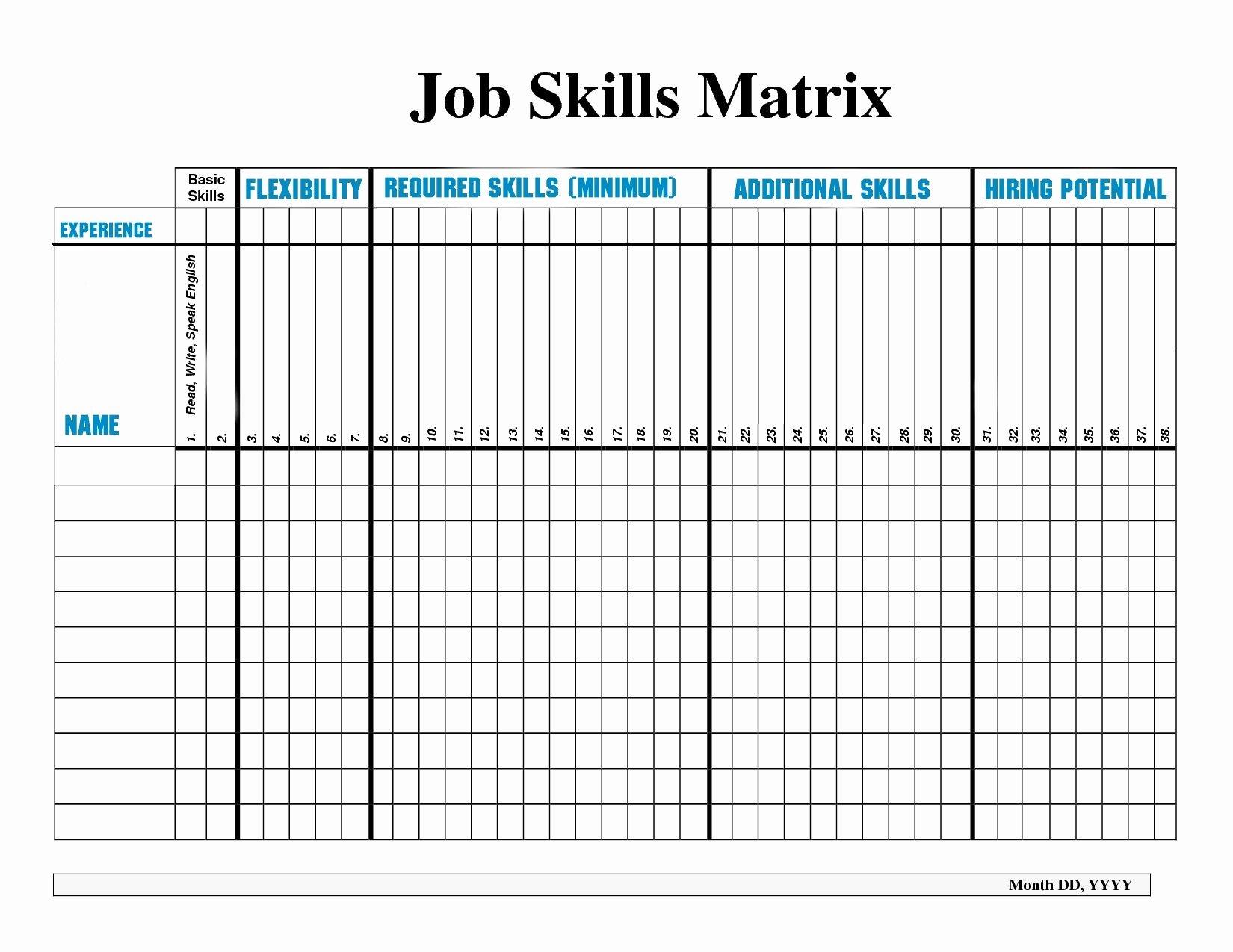 Training Matrix Template Excel
