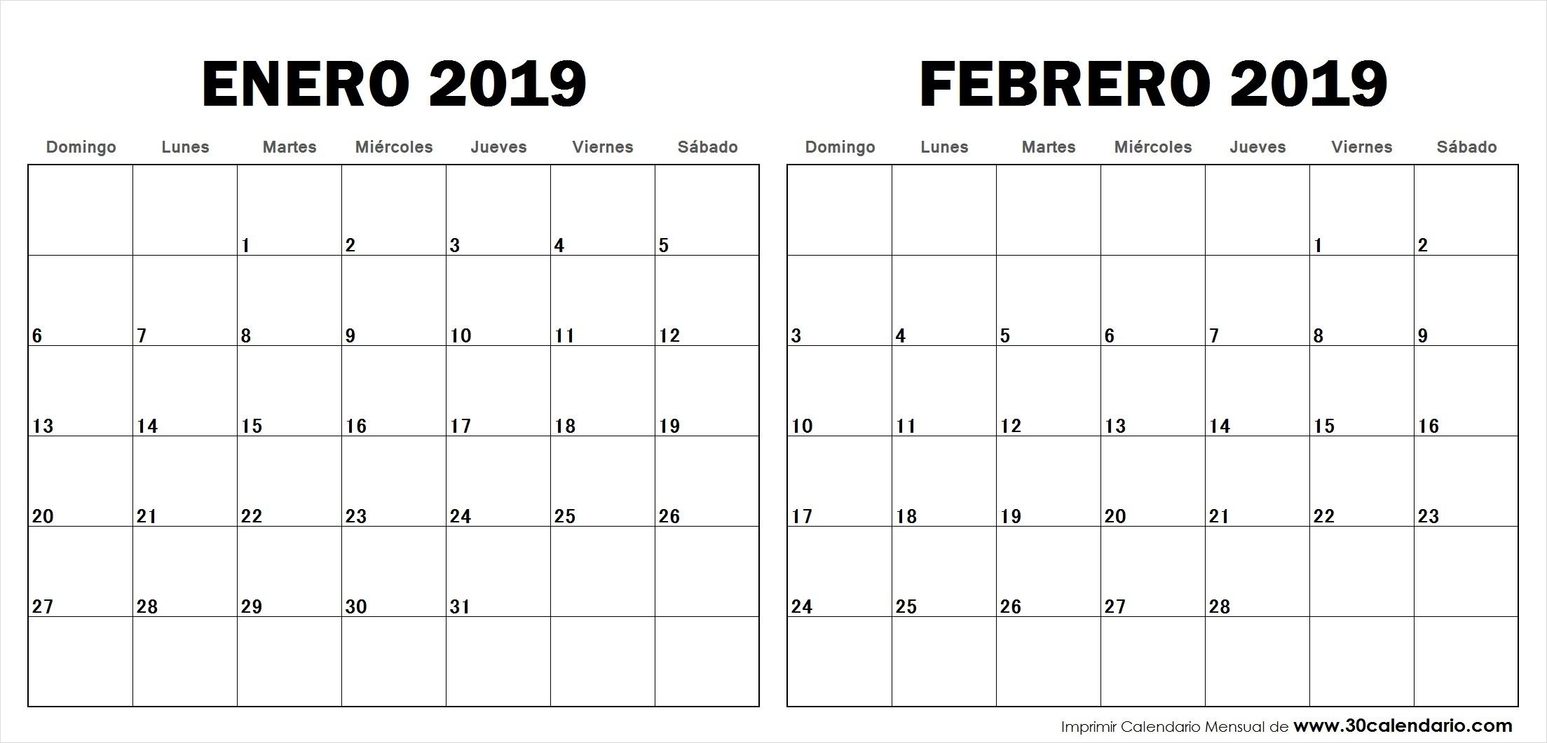 Calendario Enero Febrero 2019