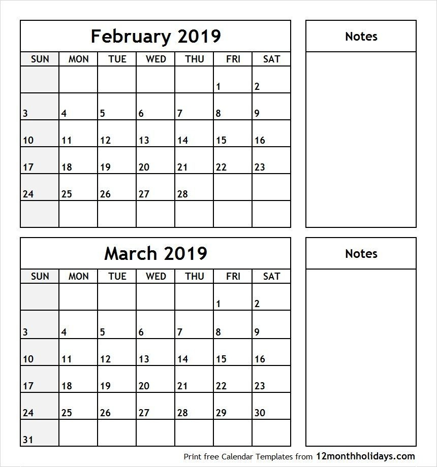 February To March 2019 Calendar