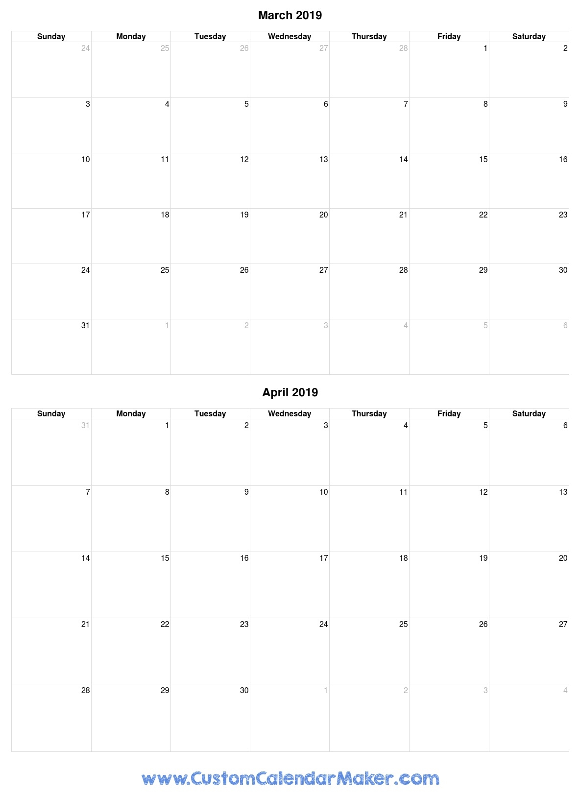 March To April Two Month 2019 Calendar