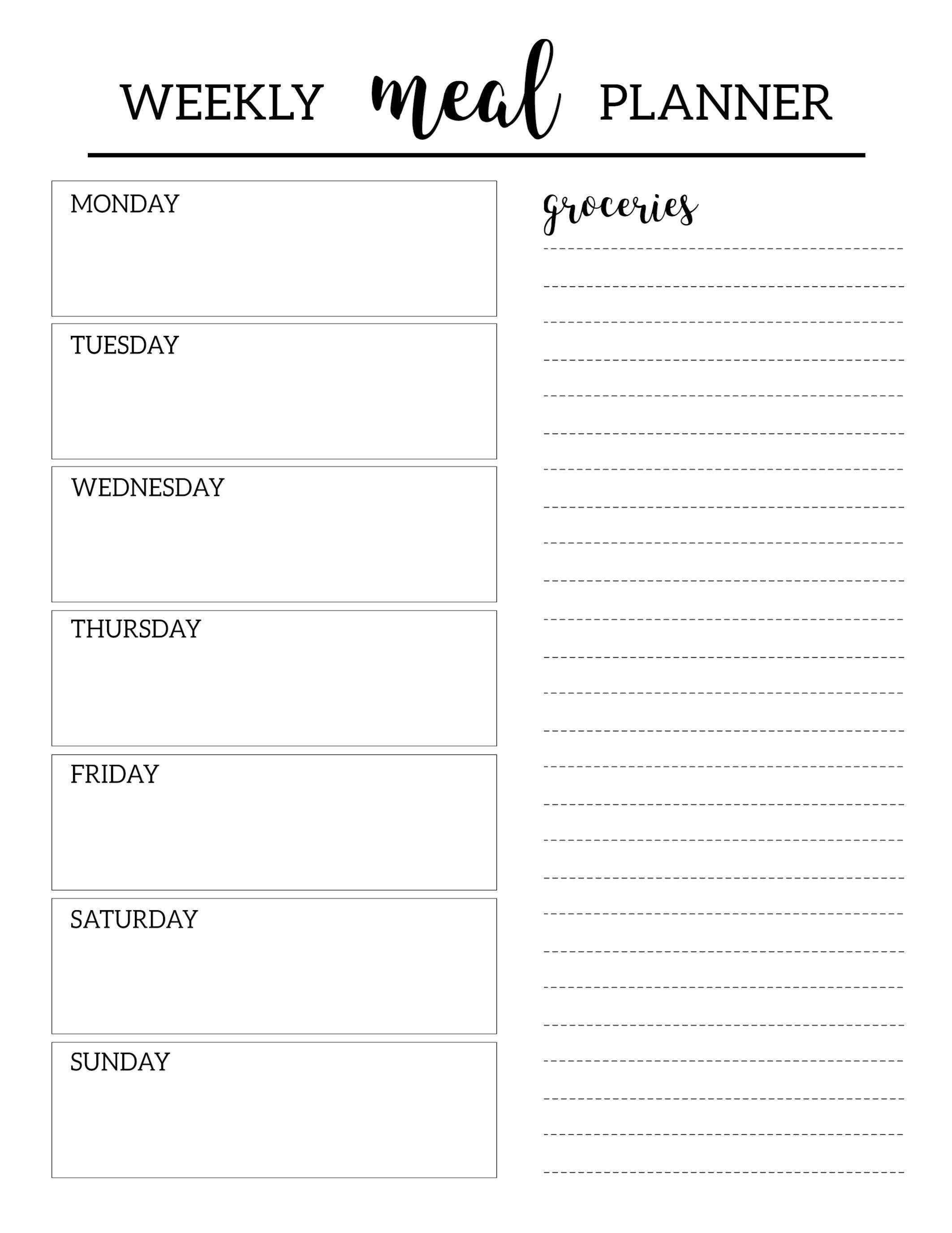 Free Printable Menu Planner Template