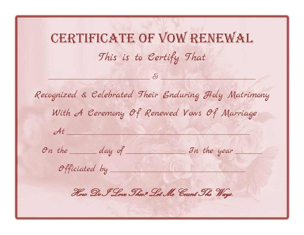 Marriage Vow Renewal Certificate Templates