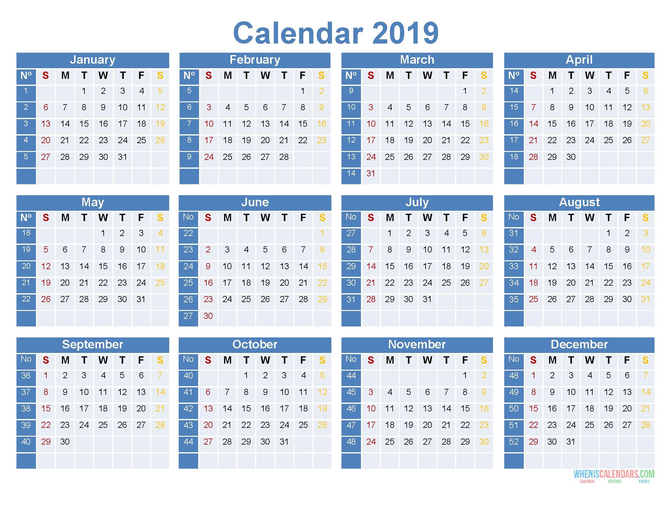 2019 12 Month Calendar Template Large Print Calendar Pdf Image 4c3r S2e1