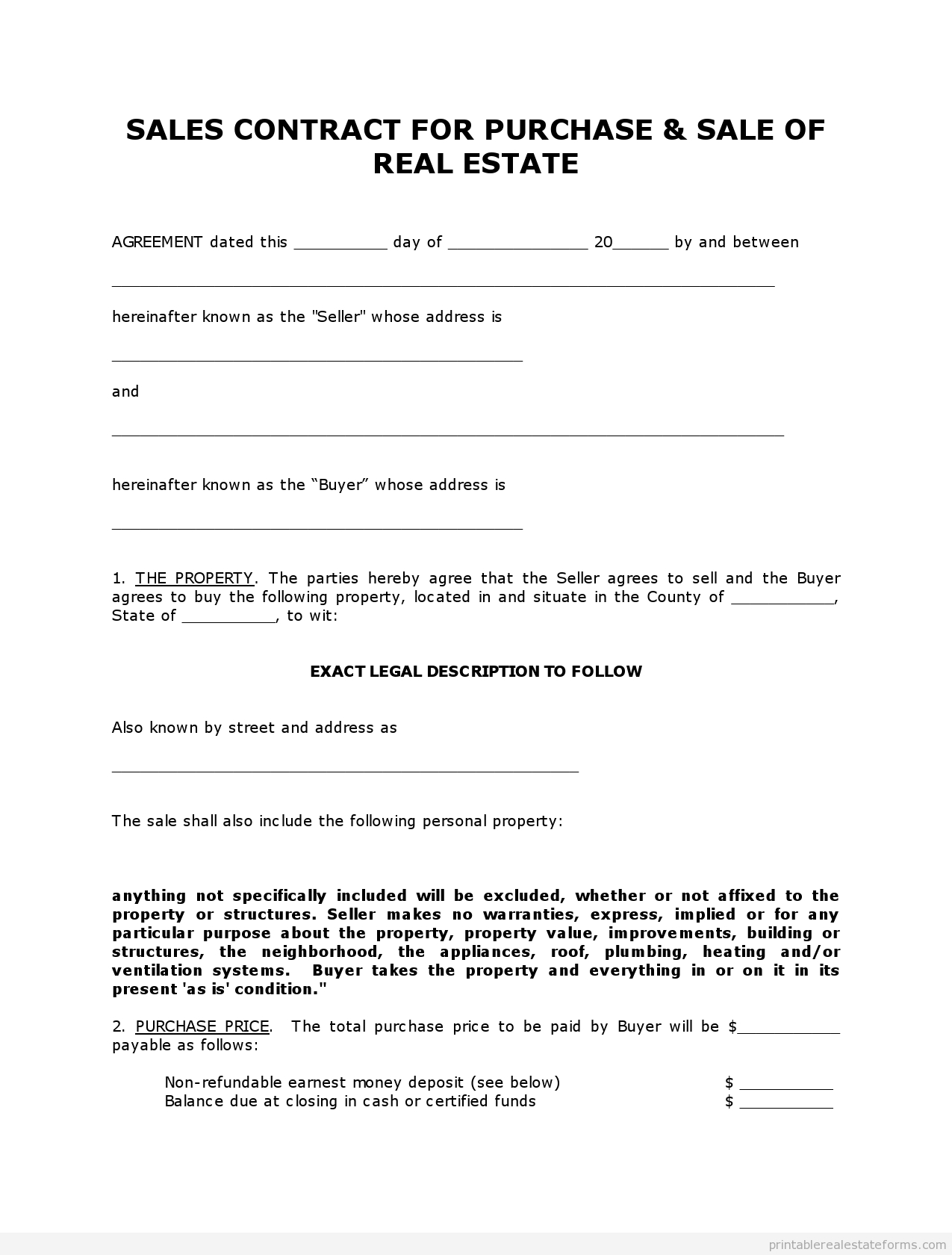 Land Sale Contract Template Free