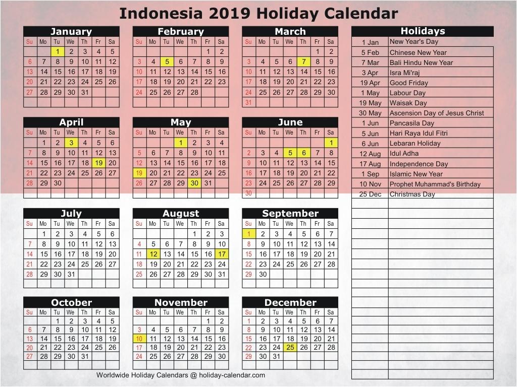 2019 Public Holidays Indonesia