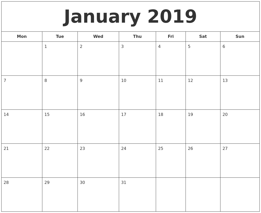 Printable   Calendar 2019 January Monday