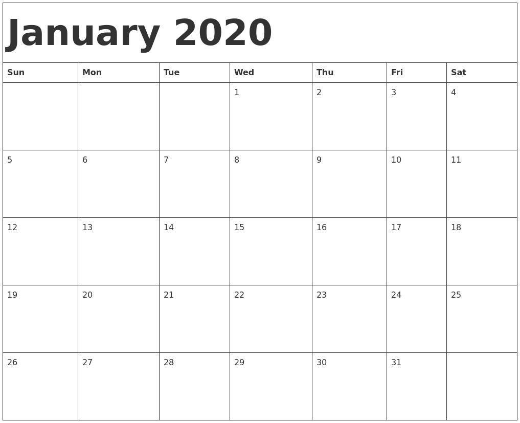 January 2020 Calendar Document