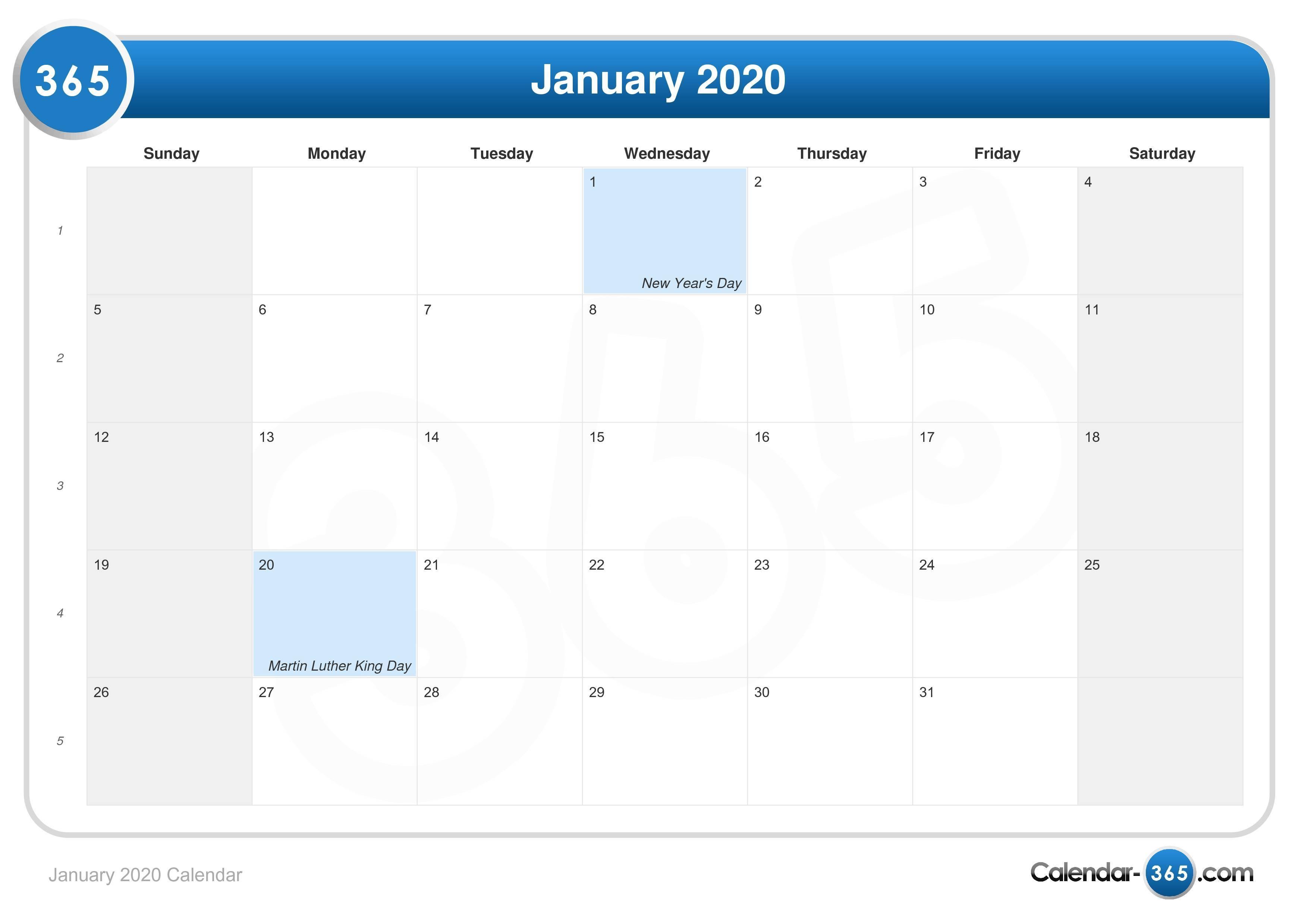 january 2020 calendar sa