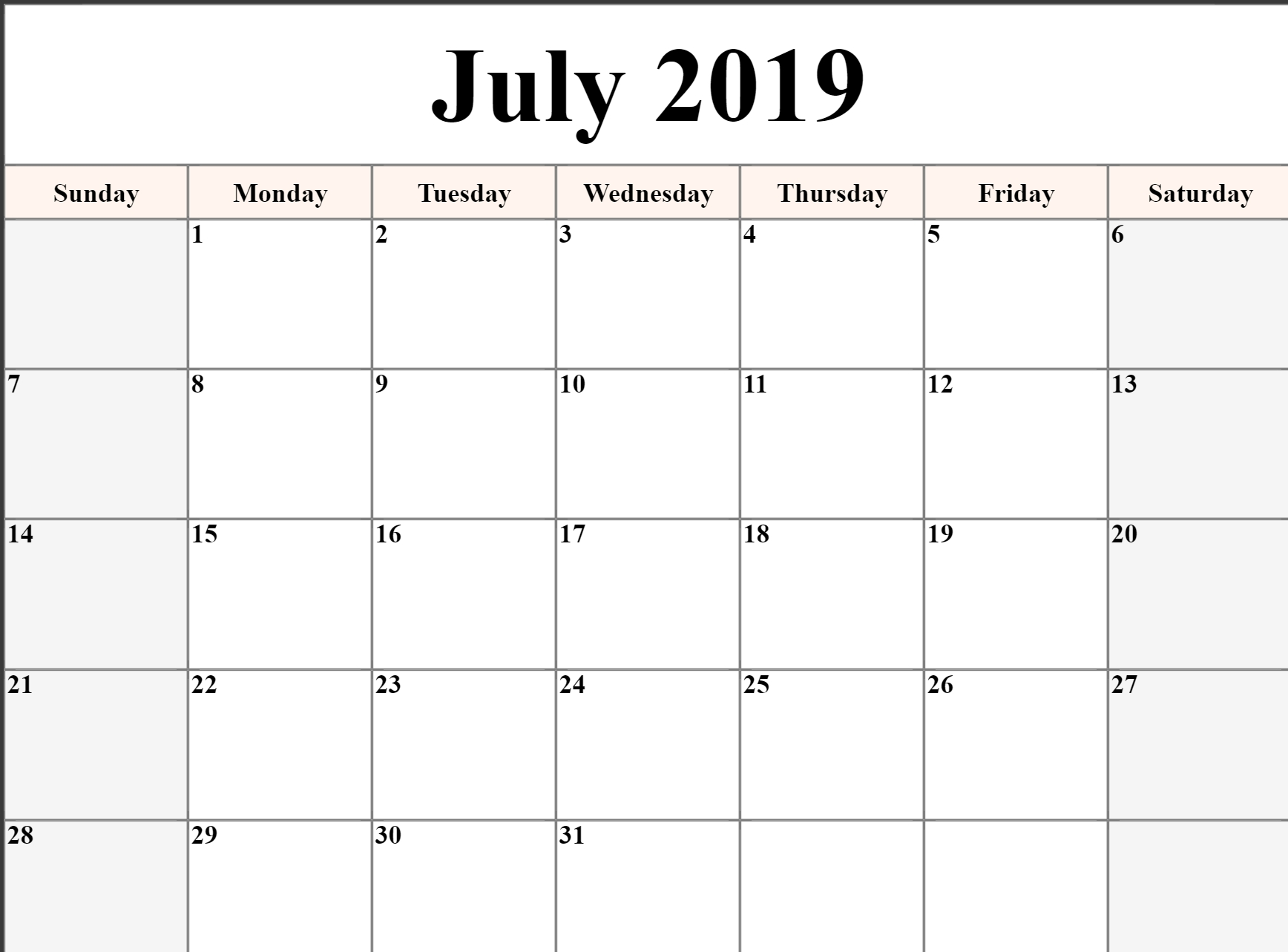 Printable   Calendar 2019 July Monday