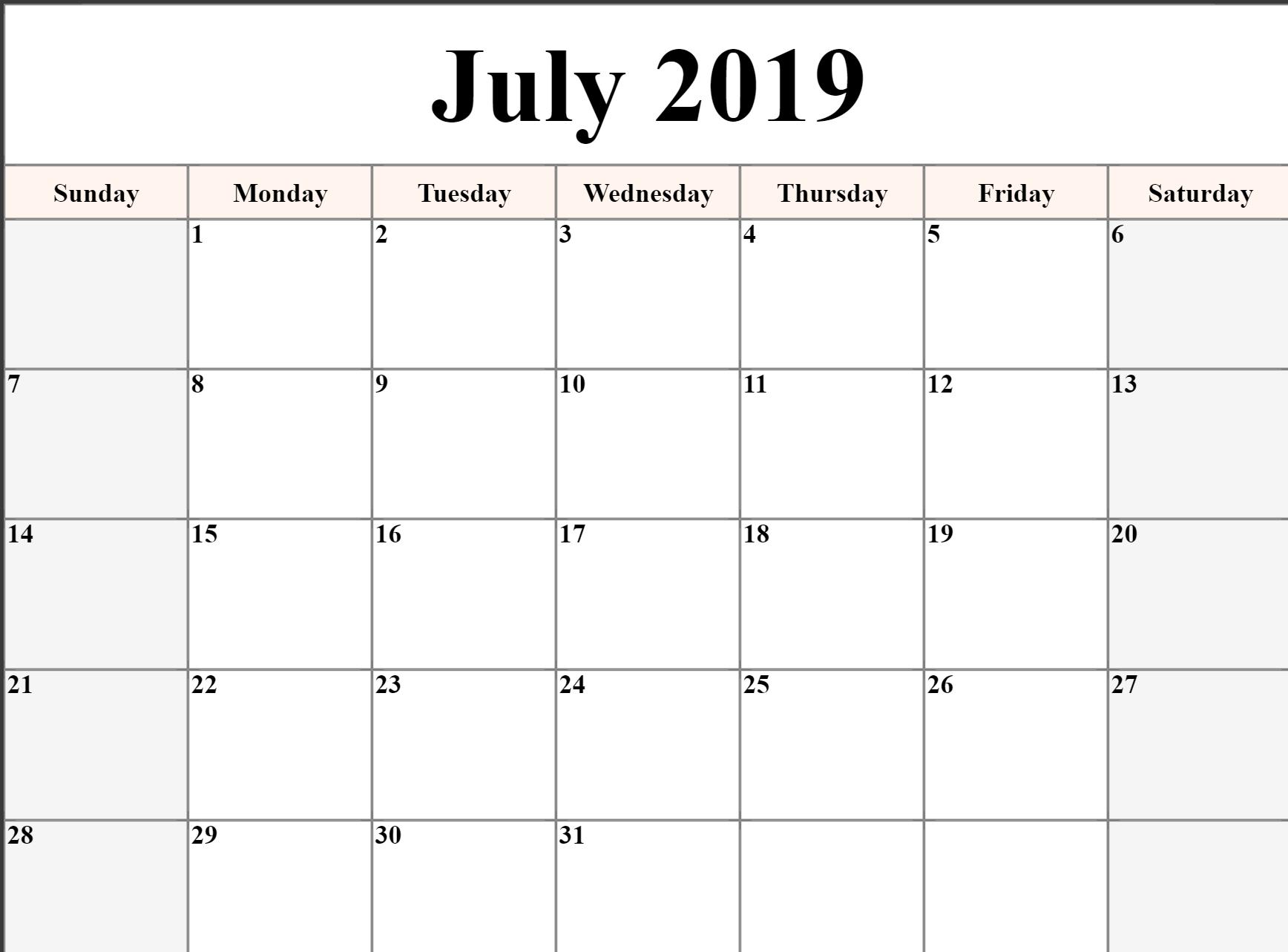 Printable July 2019 Calendar Template Landscape Format