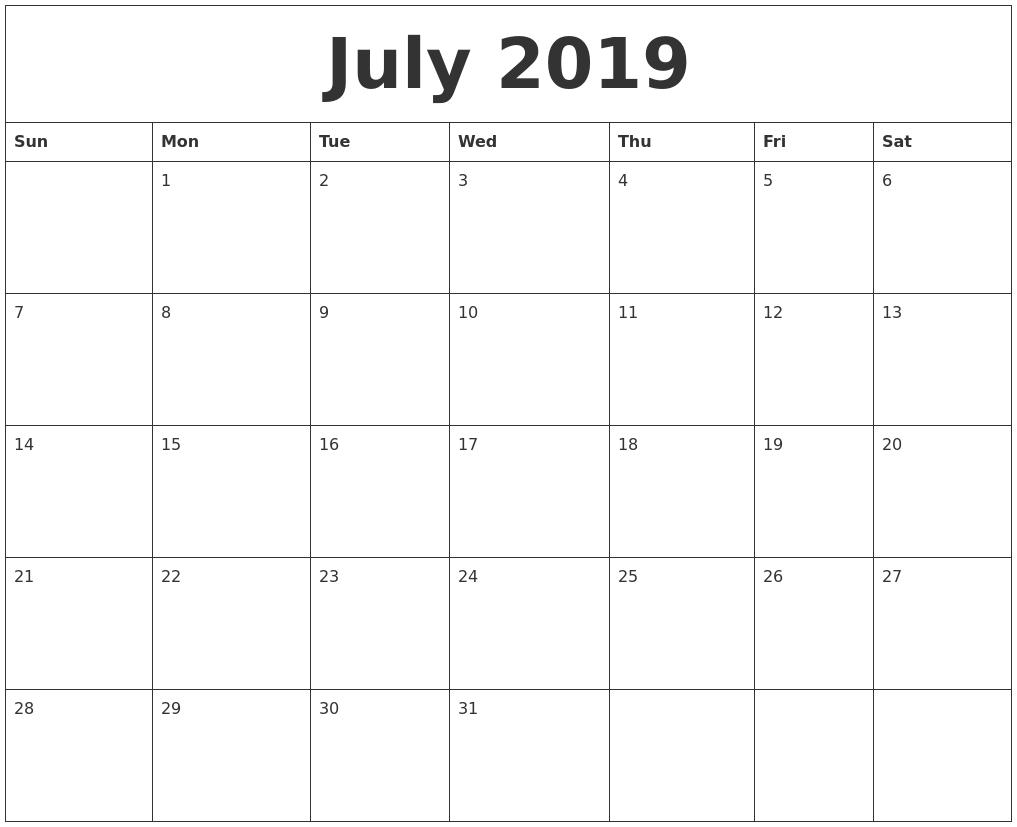 February To July 2019 Printable Calendar