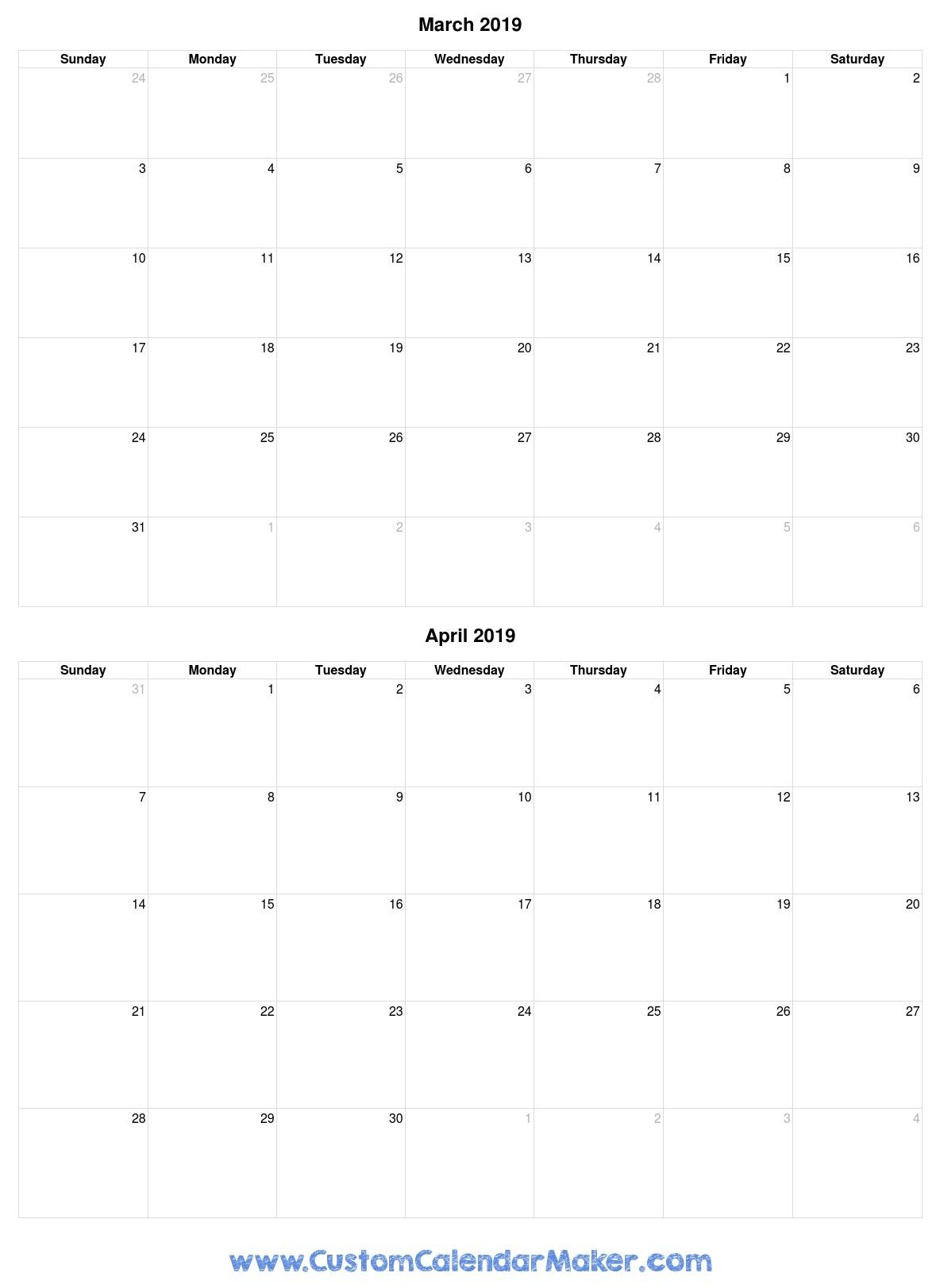 March April 2019 Print Calendar
