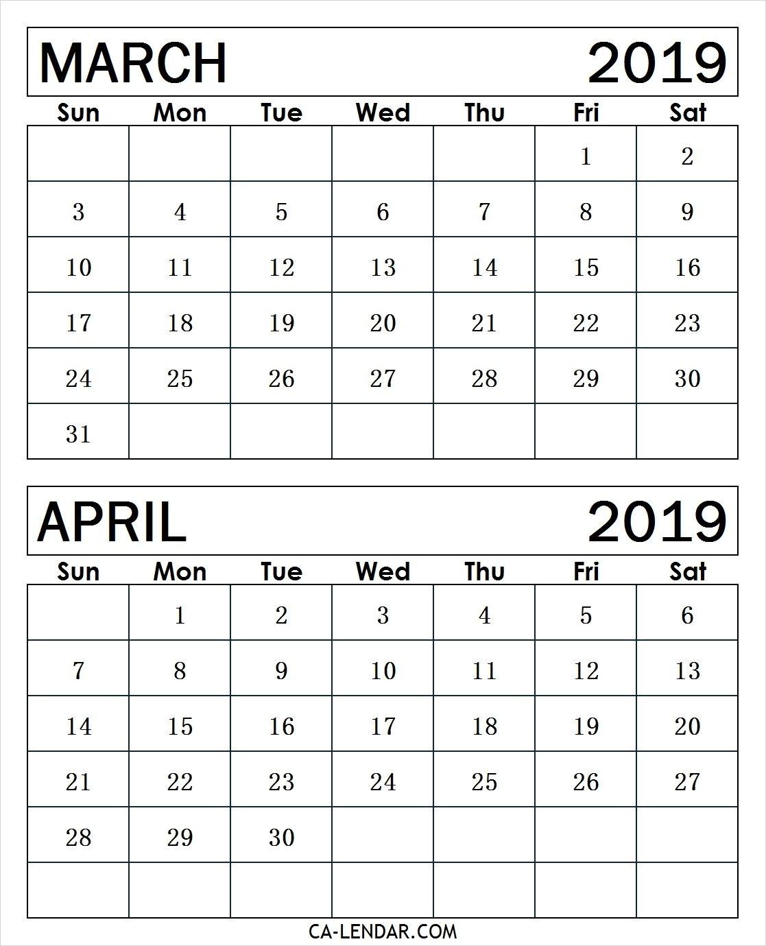 March April 2019 Calendar Print