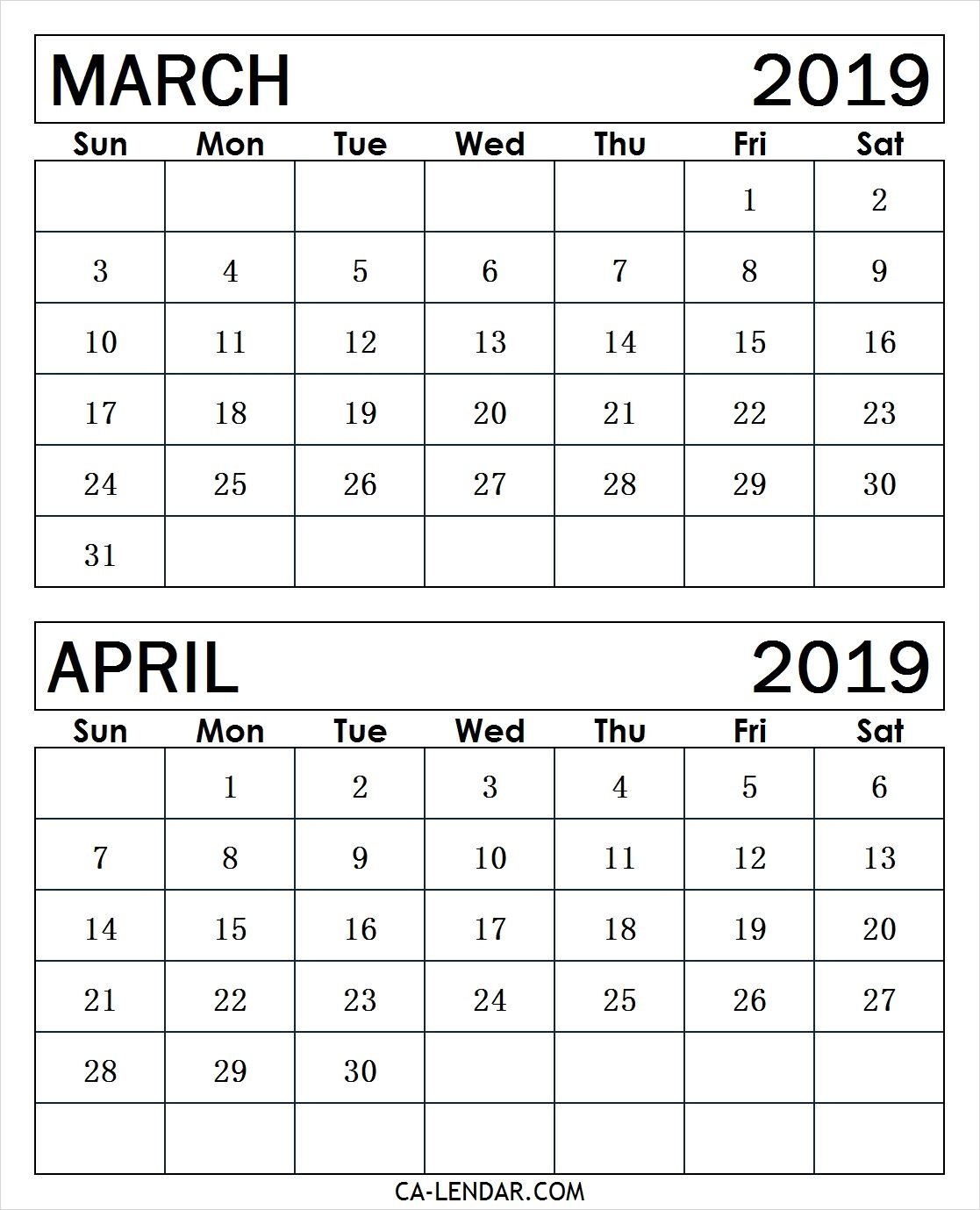 March To April 2019 Calendar Print