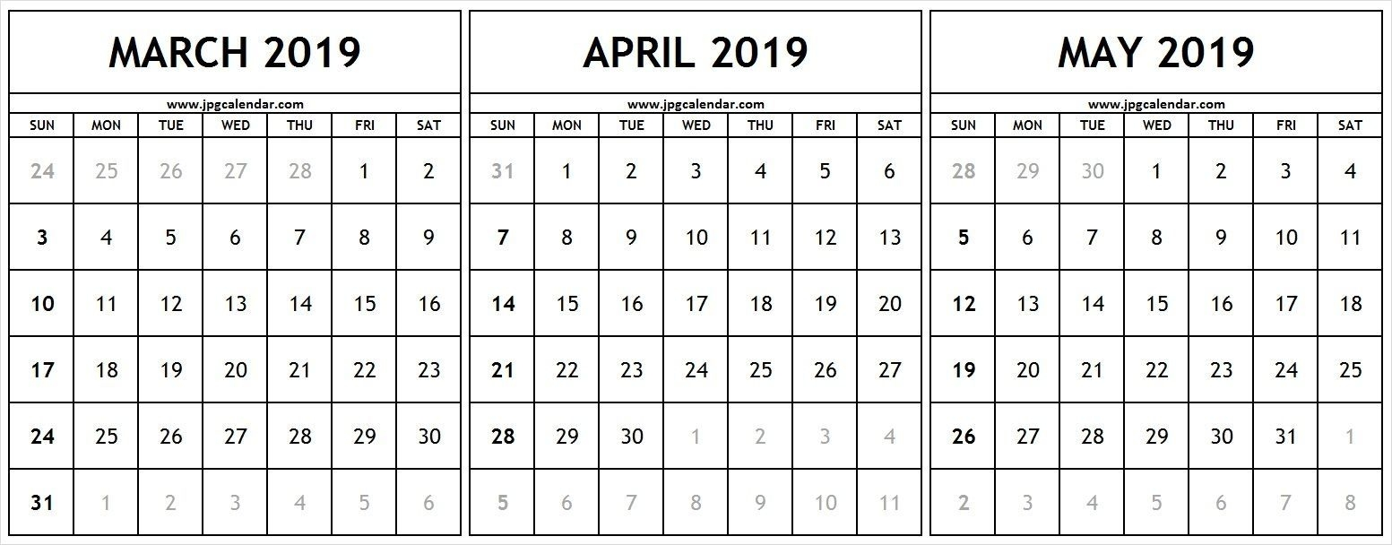 Calendar March April May 2019 Template