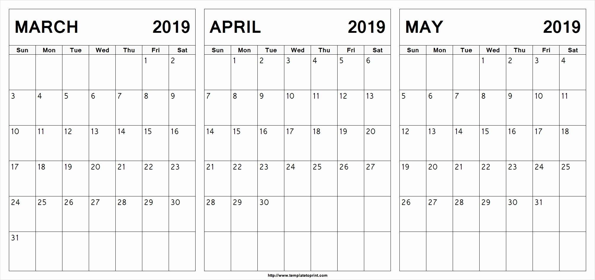 March April May 2019 Calendar