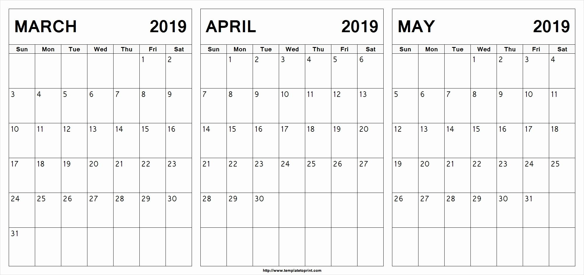 Print Calendar March April May 2019