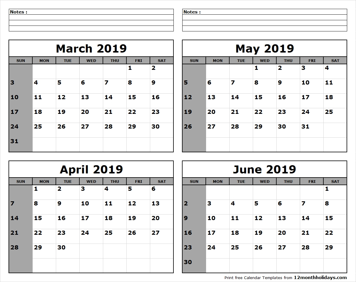 March To June 2019 Calendar Print