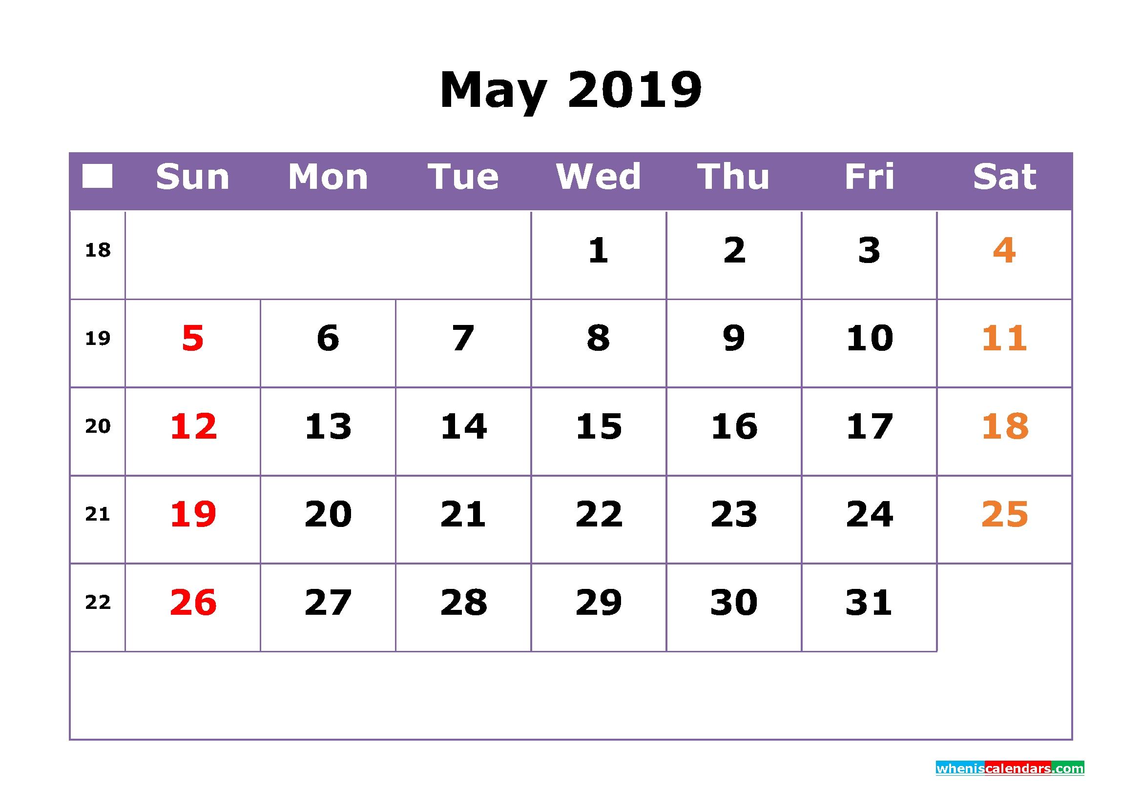 June 2019 Calendar With Week Numbers Printable Monday