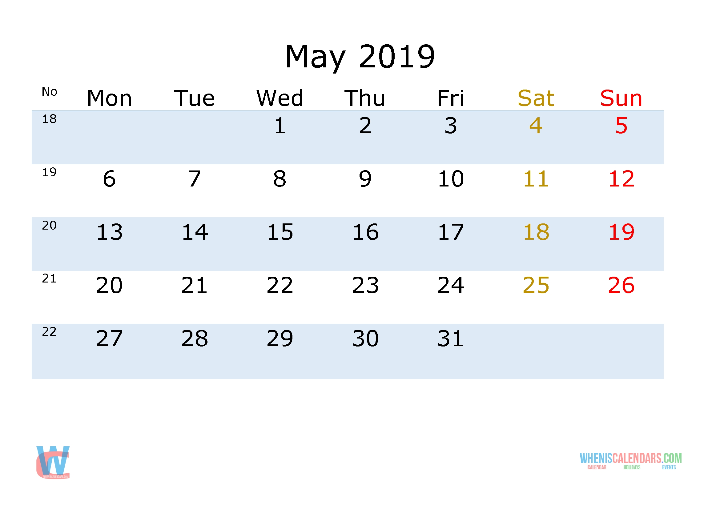 May 2019 Printable   Calendar With Week Numbers Monday 2