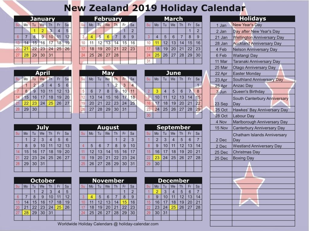 2019 Public Holidays New Zealand