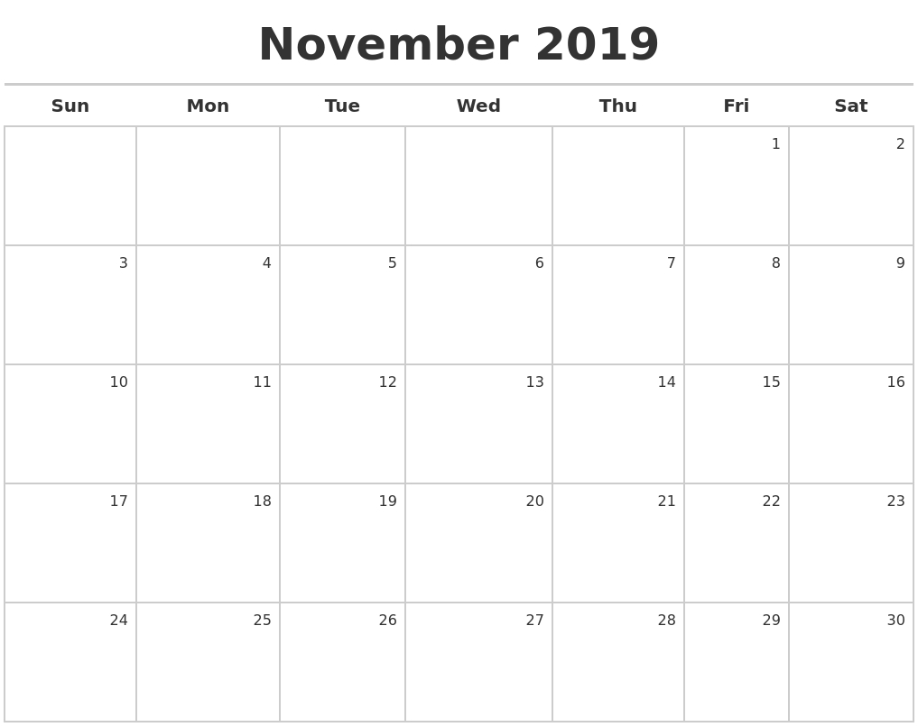 Free November 2019 Printable Calendar Templates Us Edition