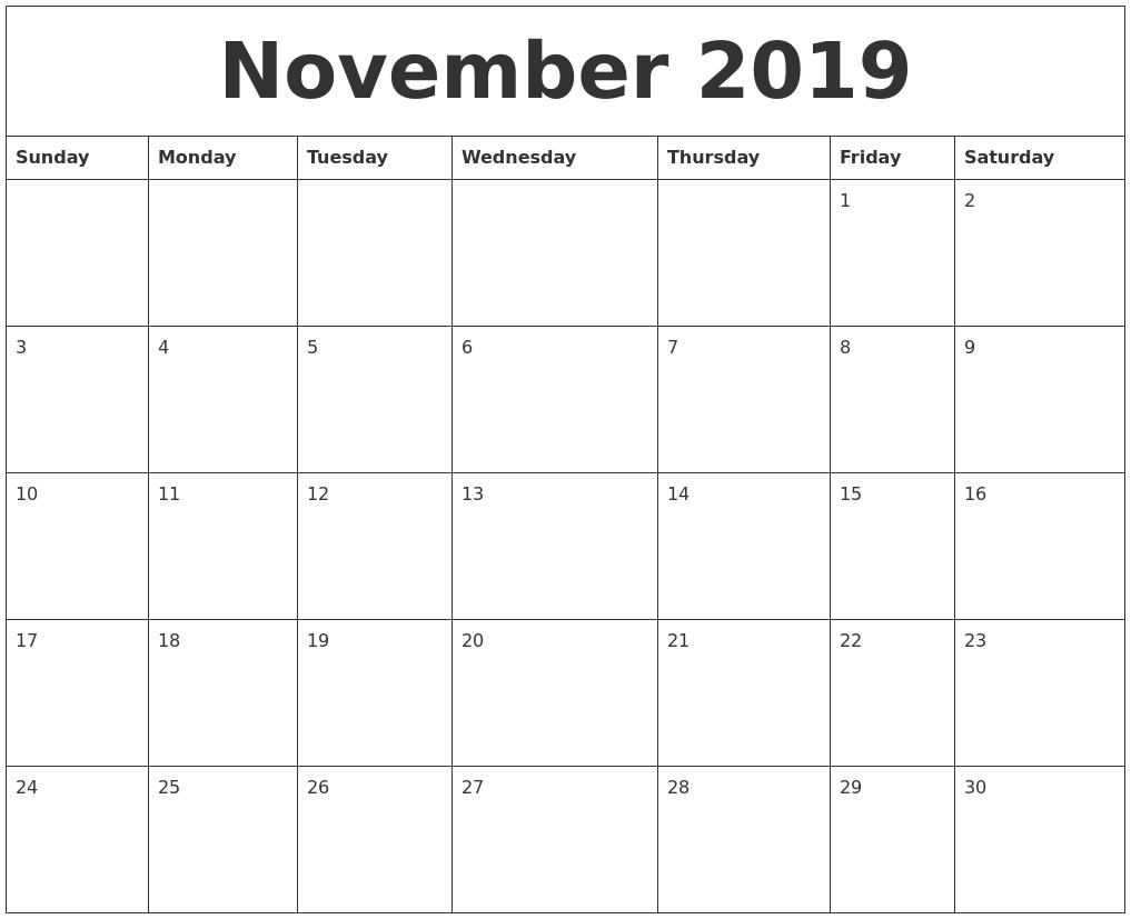 November 2019 Printable Calendar Template 3 Month Calendar