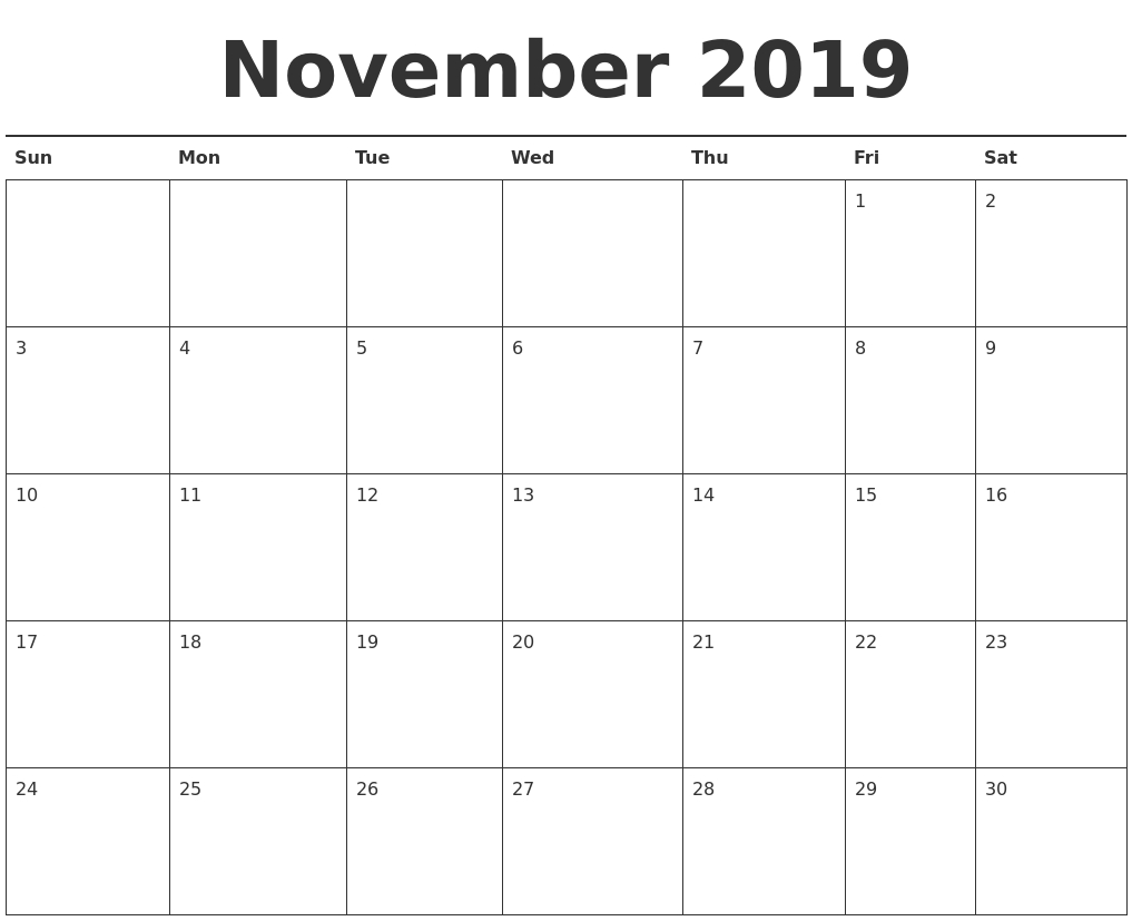 Printable Calendar Template November 2019 As Pdf And Jpg