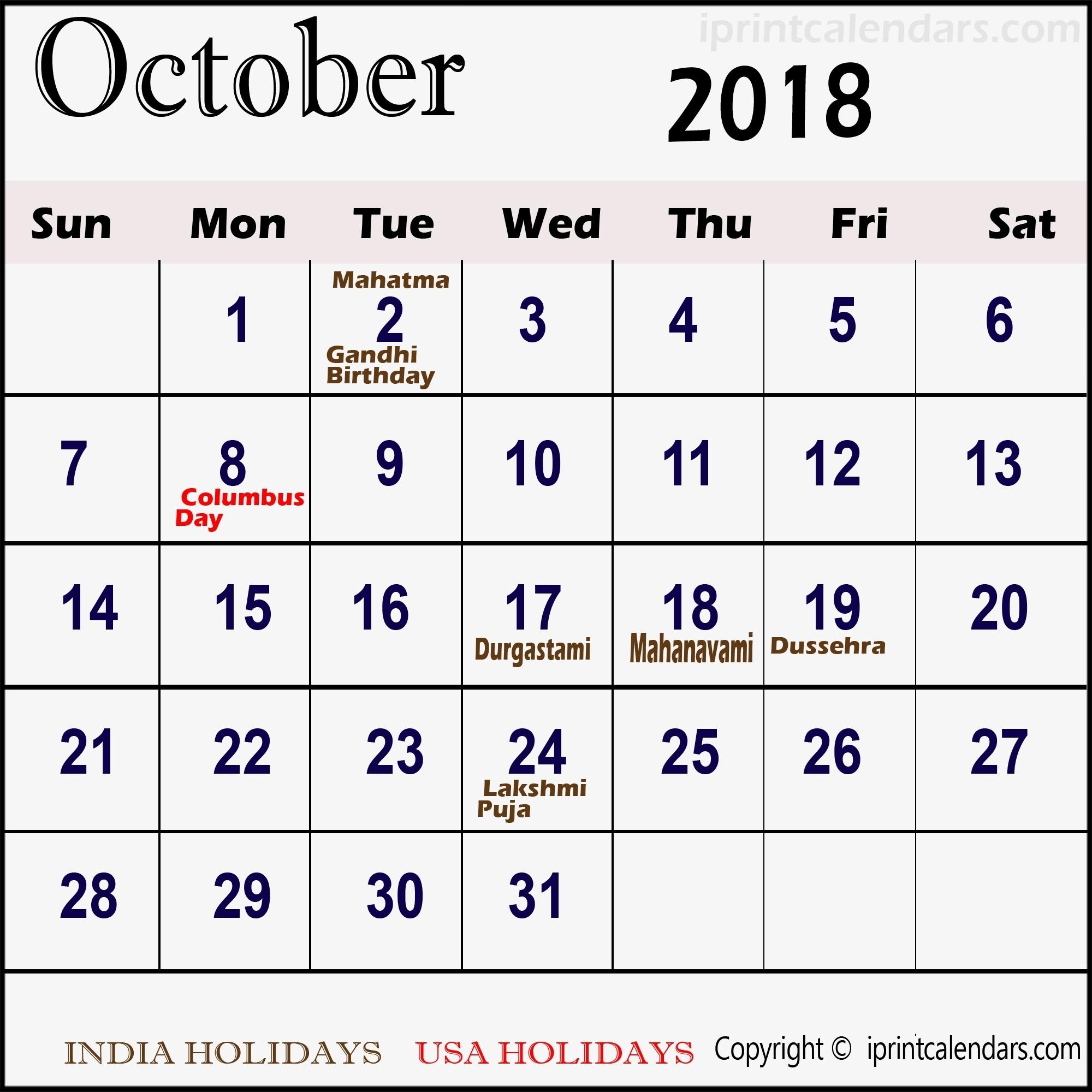 October 2018 Calendar Moon Phases