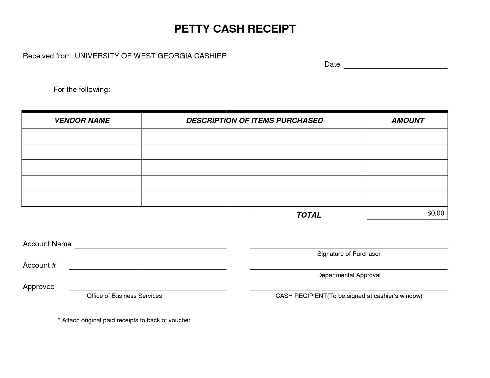 Paid In Full Receipt Template Free Petty Cash Form Very Simple And | Qualads