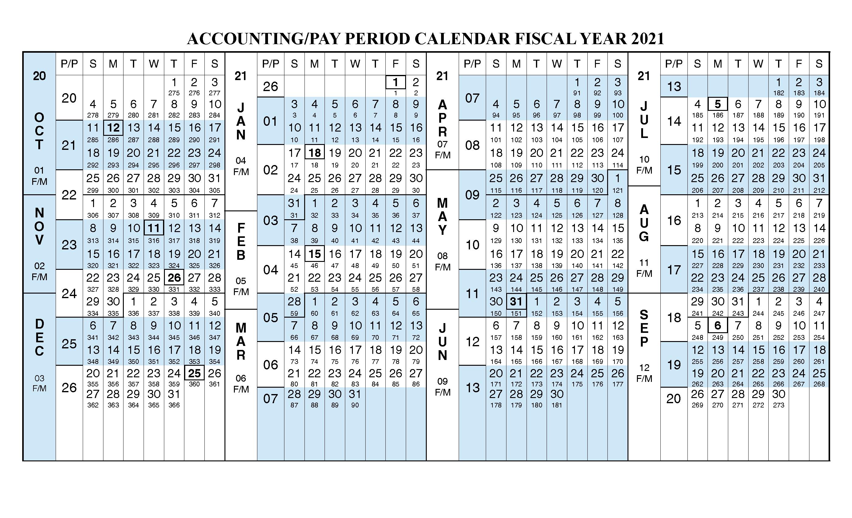 Payroll Calendar 2021 Fiscal Year Calendar Oct 2020 Sep 2021