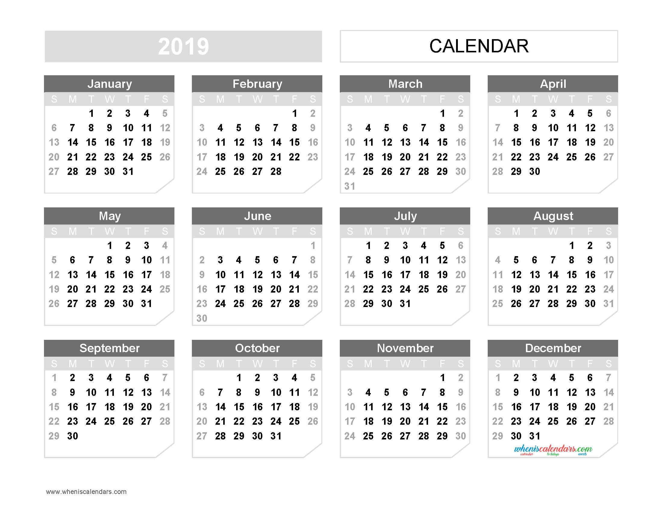 Printable 2019 Yearly Calendar Template Landscape Format Us Edition