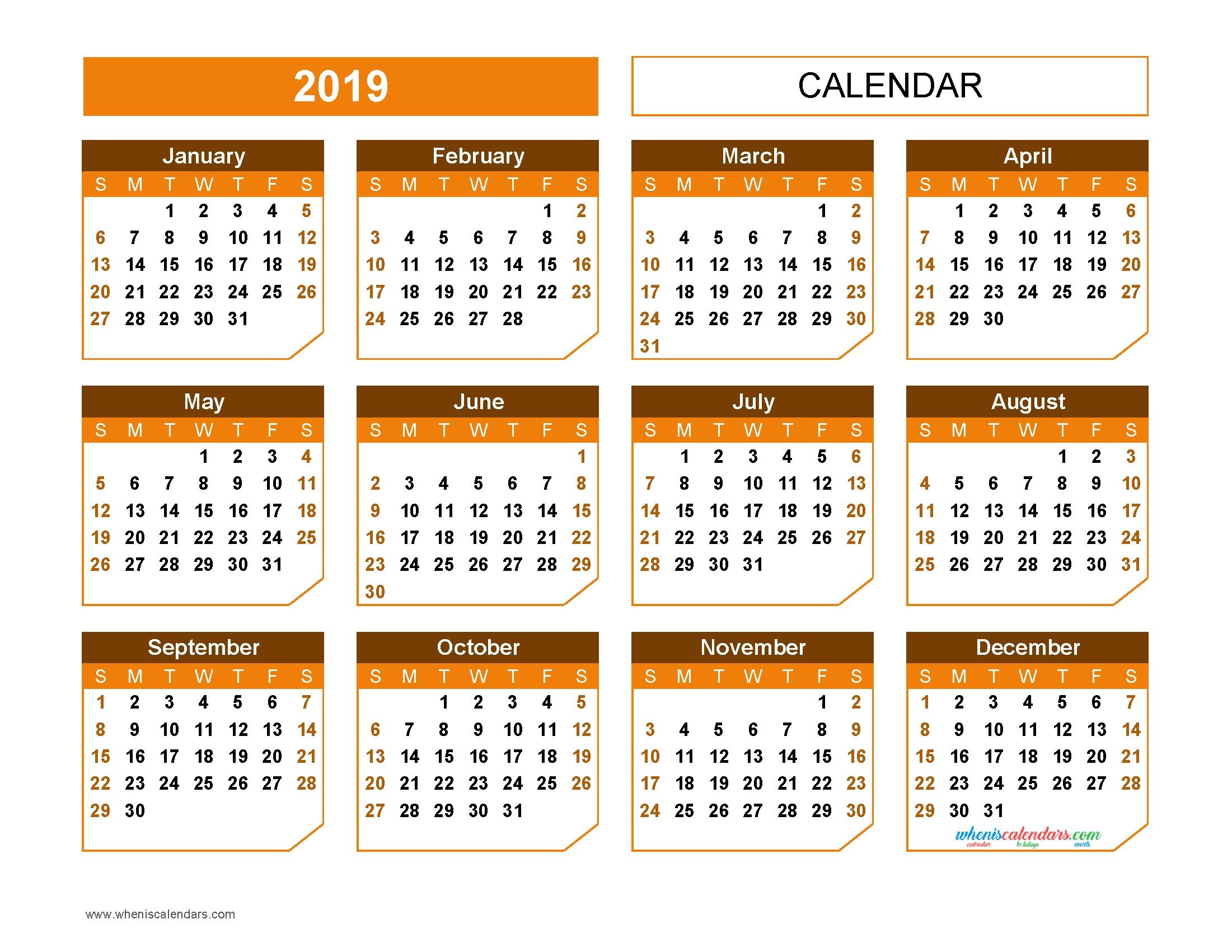 Printable 2019 Yearly Calendar Templates Us Edition Aspect
