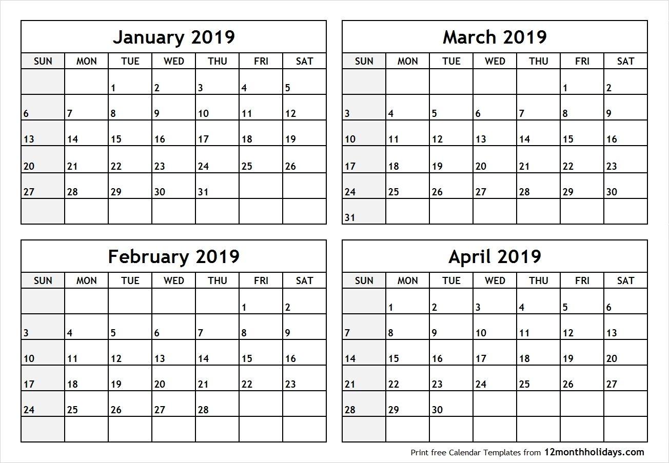 Printable 2019 Calendar February March April