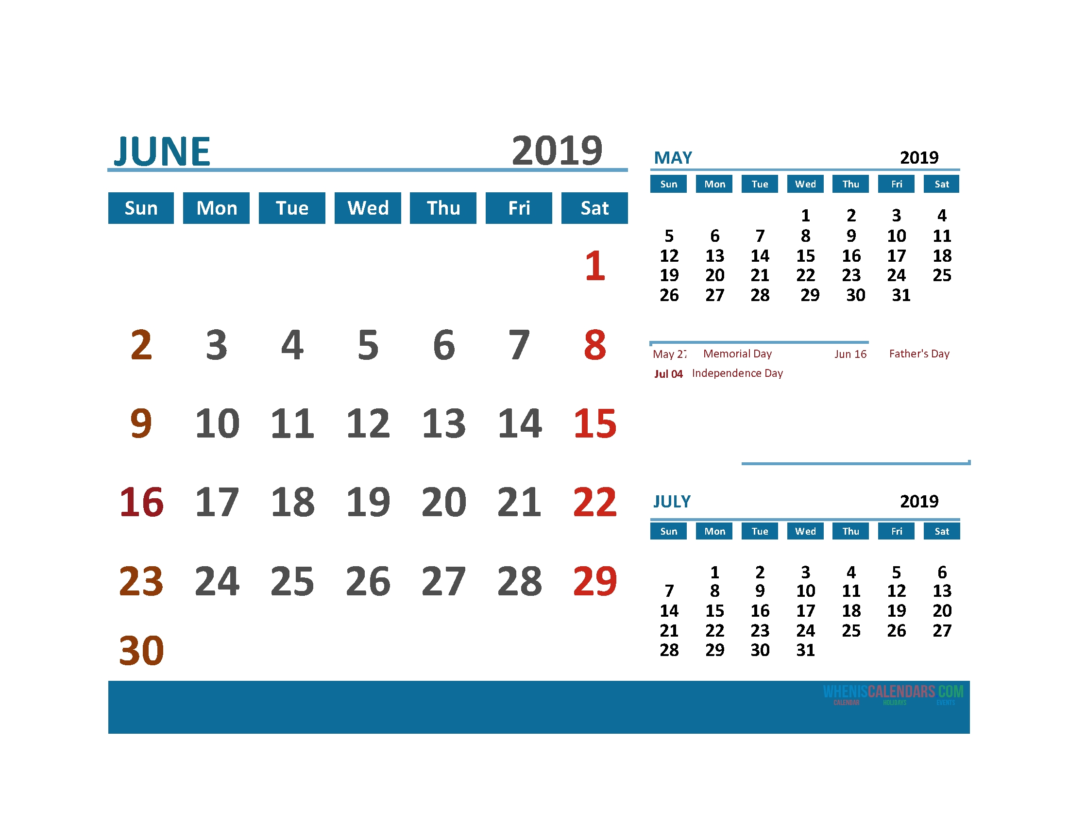 Printable Calendar June 2019 With Holidays 1 Month On 1 Page