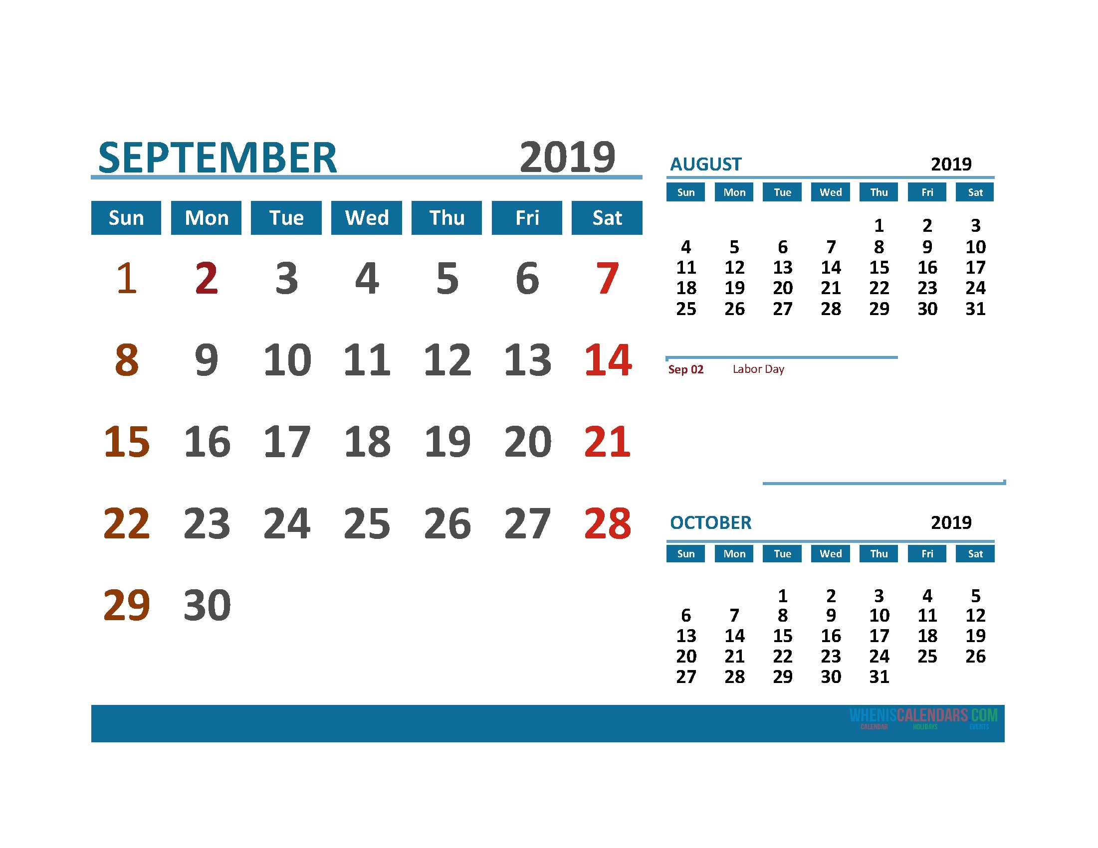 Printable Calendar September 2019 With Holidays 1 Month On 1 Page