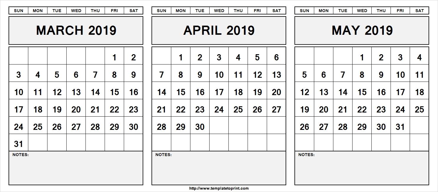 Notes Calendar 2019 March April May