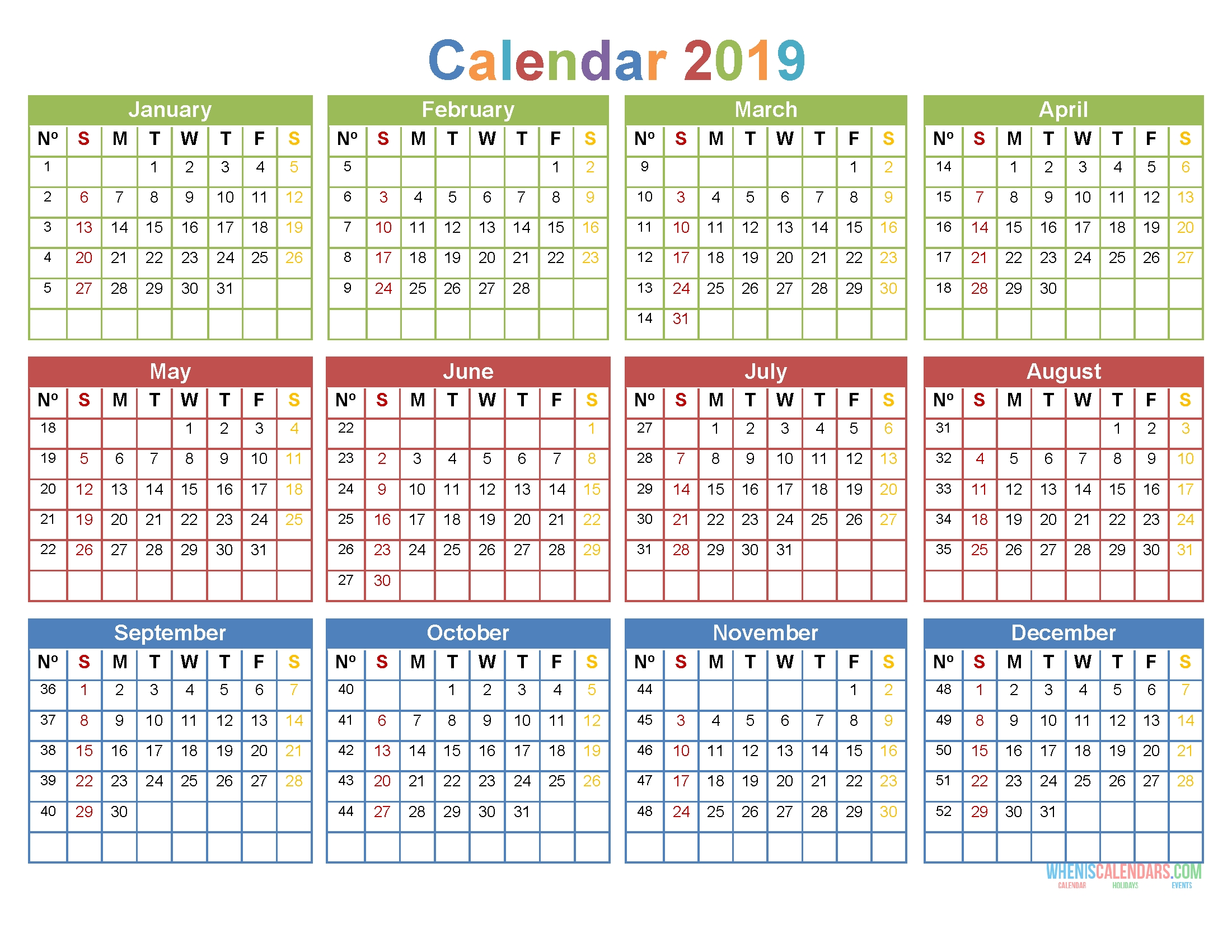 2019 12 Month Calendar Template Large Print Calendar Pdf Image 4c3r S1rb321