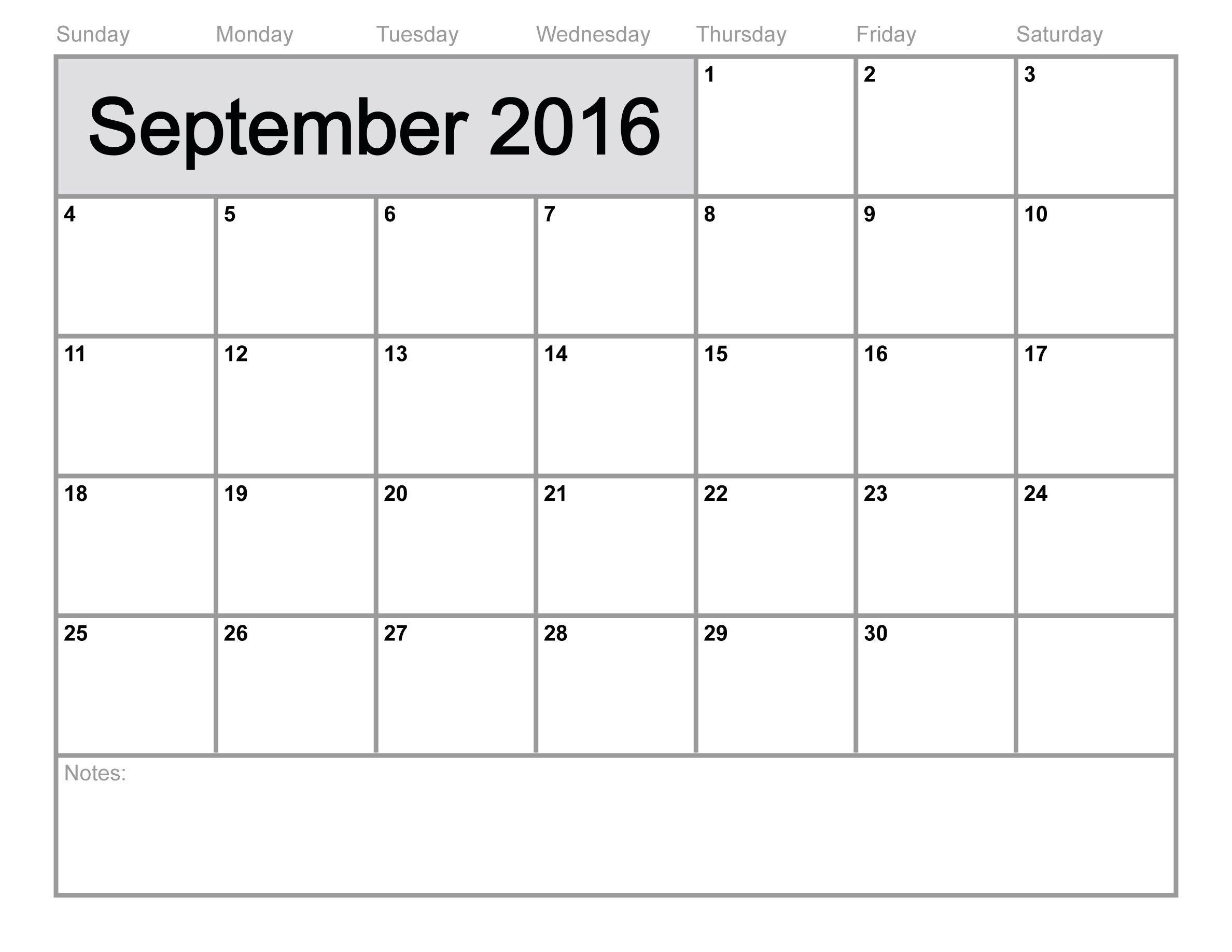 September 2016 Calendar Printable Template