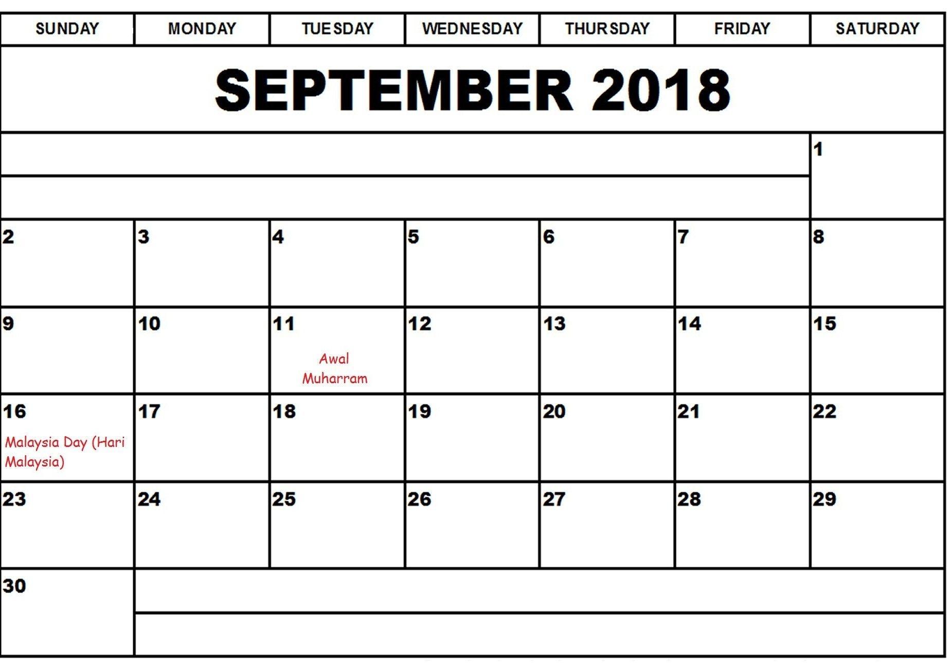 September 2018 Calendar Malaysia
