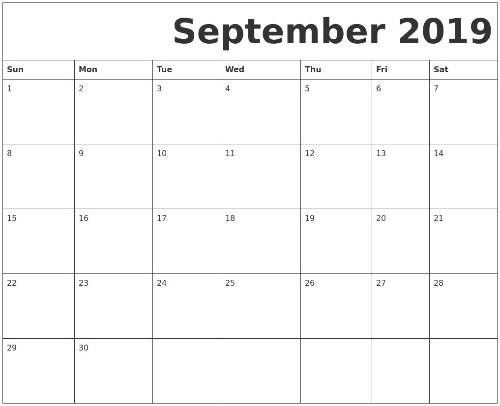 Printable   Calendar 2019 September Monday