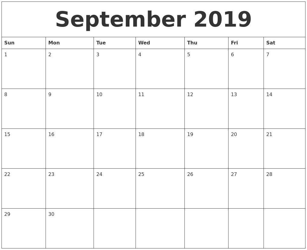 Free September 2019 Printable Calendar Templates Us Edition