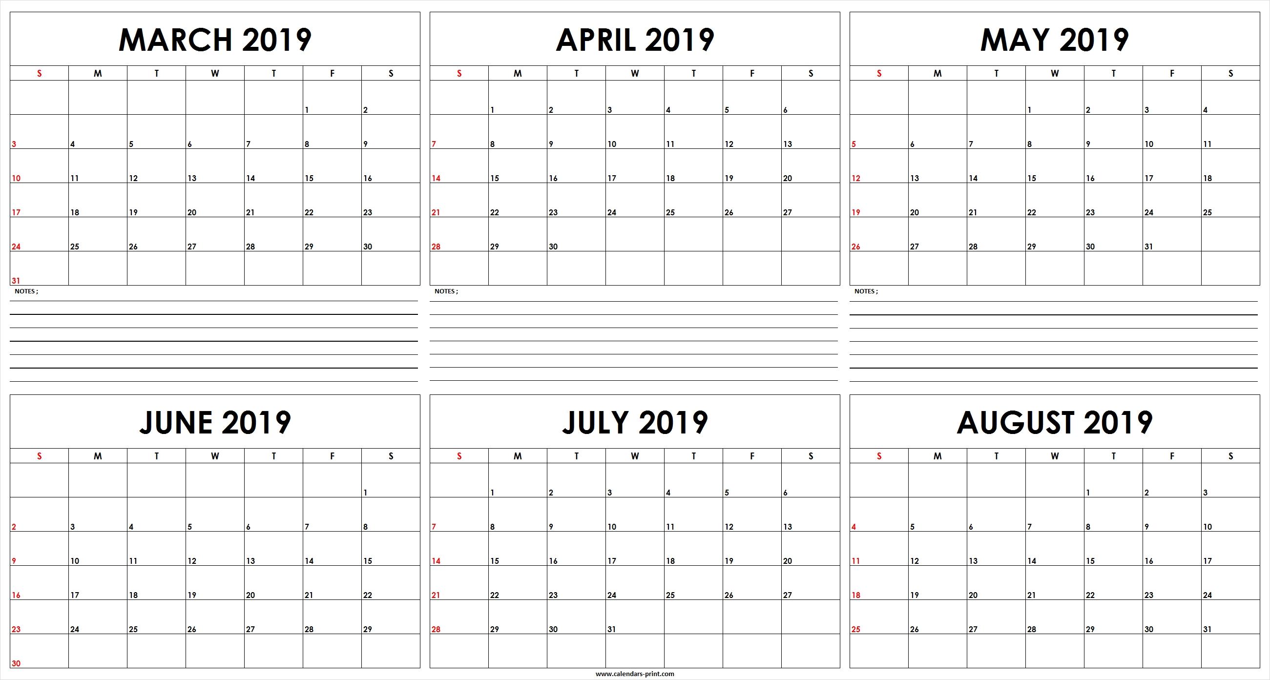 Free March August 2019 Calendar