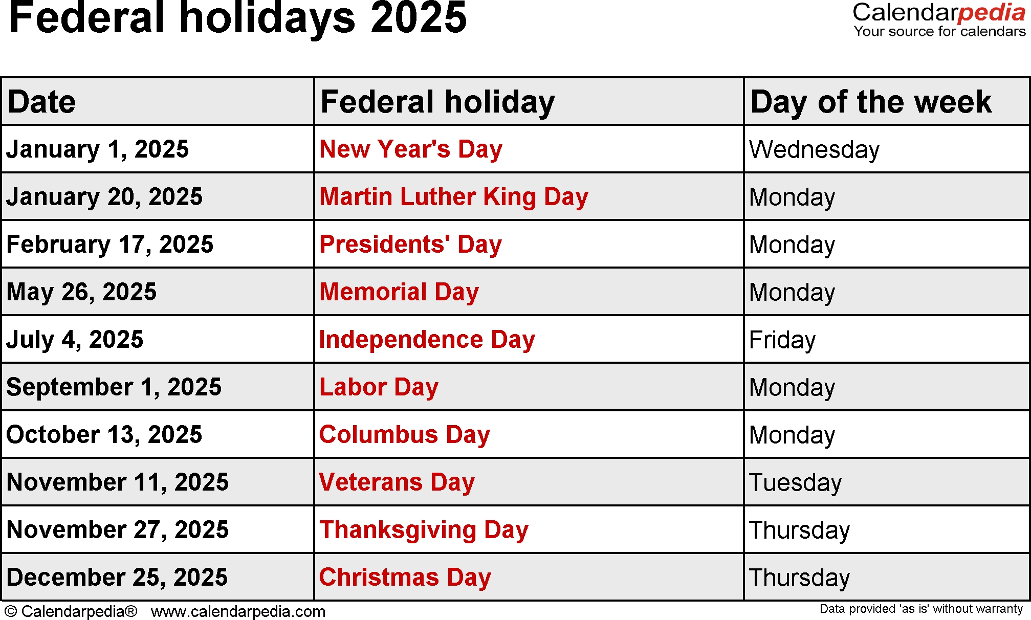 2030 Federal Holidays In United States