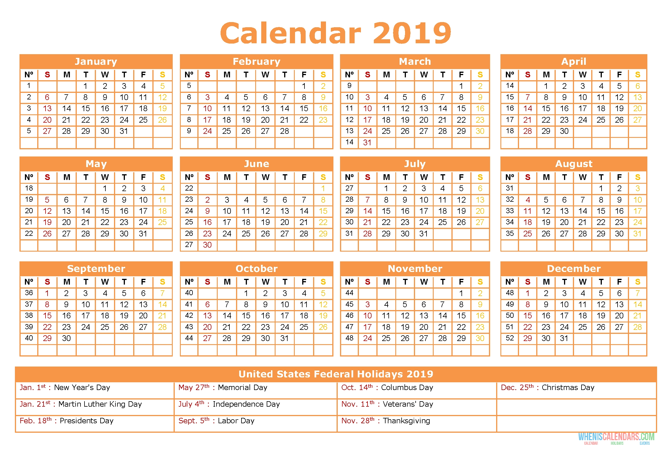2019 Yearly Calendar With Holidays Printable Us Edition S1e6