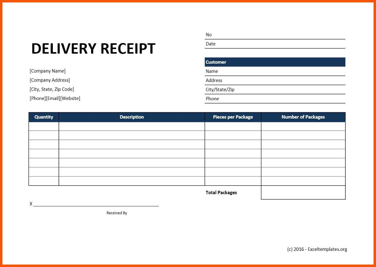 Delivery Receipt Template Free